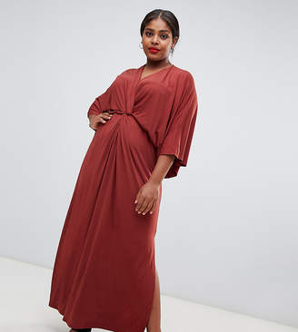 Asos John Zack Plus knot front maxi dress in rust