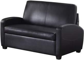 "Mainstays 54"" Faux Leather Loveseat Sleeper, Black"