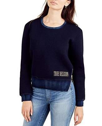 True Religion Women's Neoprene Crewneck Sweatshirt