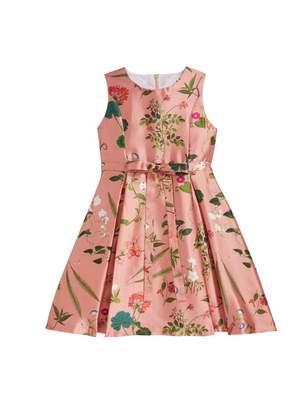 Oscar de la Renta Botanical Print Mikado Party Dress