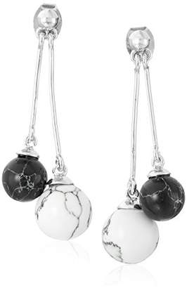 Noir Semi Precious Rhodium Sphere Drop Earrings