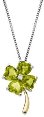 Lord & Taylor Sterling Silver 14K Yellow Gold Peridot and Diamond Necklace