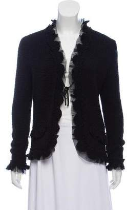 Chanel Cashmere Tulle-Trimmed Cardigan