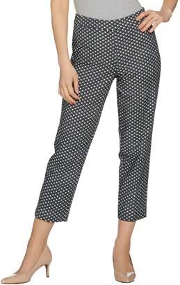 Susan Graver Printed Stretch Woven Slim Leg Zip Front Crop Pants