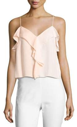 Rag & Bone Posta Ruffled Tank Top, Peach Orange