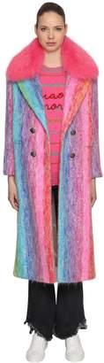Giada Benincasa Striped Mohair Long Coat W/ Fur Collar