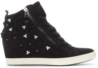 Kennel + Schmenger Kennel & Schmenger Navy Suede Pearl Embellished High Top Trainers
