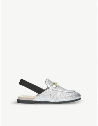 Gucci Princetown glittered leather slingback loafers 3-4 years