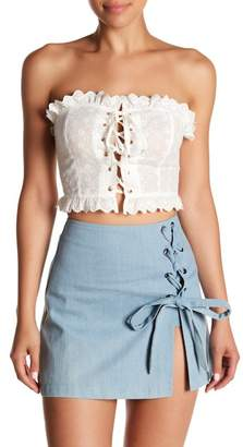 Love + Harmony Lace-Up Eyelet Crop Top