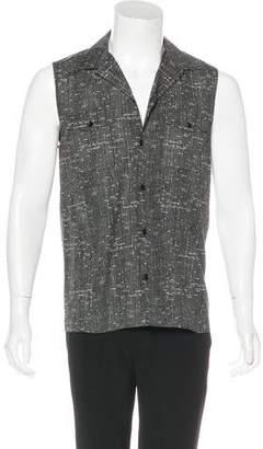 Saint Laurent Printed Sleeveless Woven Shirt