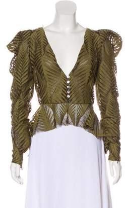 Ronny Kobo Lace Leaf Print Jacket
