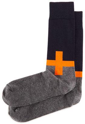 Jonathan Adler Plus Sign Knit Socks, Orange/Navy/Charcoal $30 thestylecure.com