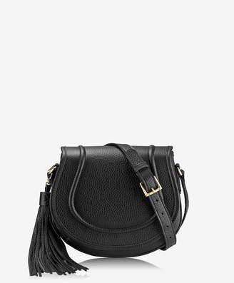 GiGi New York Jenni Saddle Bag Black Pebble Grain