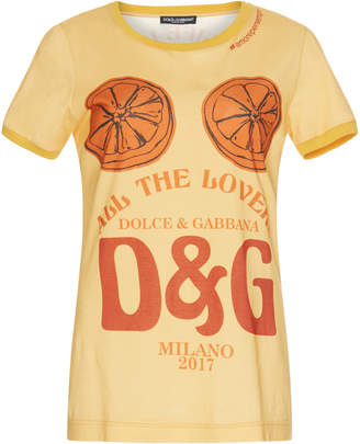 Dolce & Gabbana Logo Printed Cotton T-Shirt