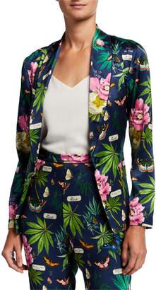 Fleur Du Mal Floral-Print Silk Smoking Jacket