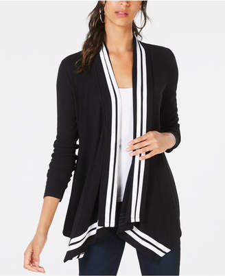 INC International Concepts I.n.c. Petite Stripe-Trim Draped Cardigan, Created for Macy's