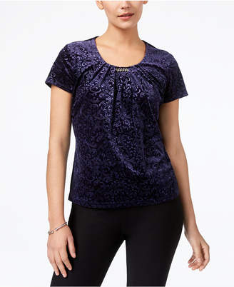 NY Collection Petite Patterned Velvet Top