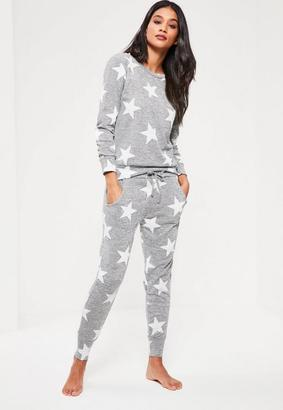 Grey Star Print Lounge Tracksuit $54 thestylecure.com