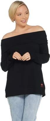 Peace Love World Comfy Knit Off the Shoulder Top w/ Affirmation