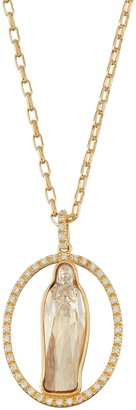 18k Gold Plated Crystal Virgin Mary Oval Halo Pendant Necklace
