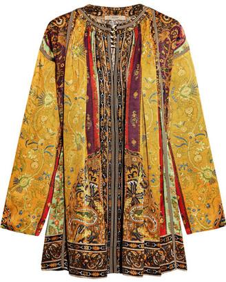 Etro - Printed Silk-satin Twill Tunic - Yellow $3,010 thestylecure.com