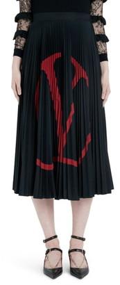 Valentino Logo Pleated Jersey Midi Skirt
