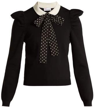 RED Valentino Polka Dot Tie Knitted Top - Womens - Black