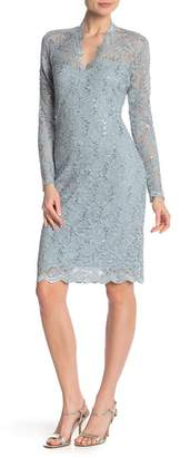 Marina Scalloped Sequined Lace Dress