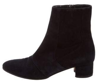 Manolo Blahnik Suede Round-Toe Ankle Boots