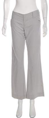 Alice + Olivia Pinstriped Low-Rise Wide-Leg Pants