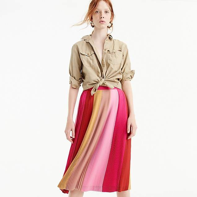 Pleated ombré skirt