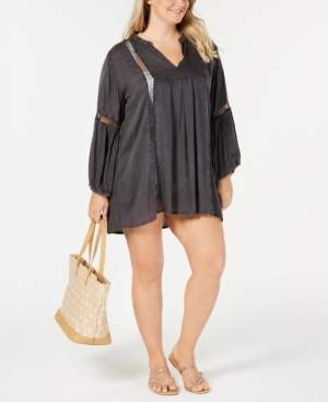 Raviya Plus Size Lace-Trim Cover-Up Women's Swimsuit