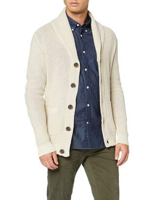 Selected Men's Slhrichard Button Shawl Neck Cardigan W (Bone White Detail:Oyster Gray/Egret)