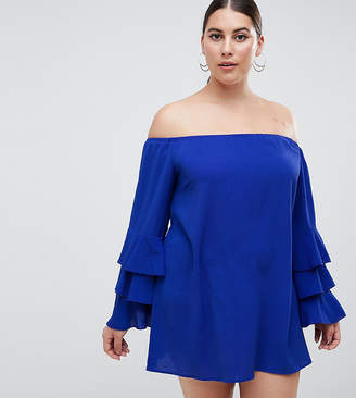 AX Paris Plus tiered sleeve off the shoulder dress