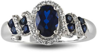 JCPenney FINE JEWELRY Lab-Created Blue and White Sapphire Sterling Silver Ring