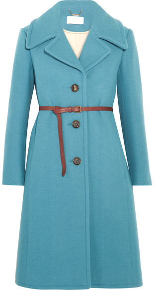 Chloé  Chloé - Iconic Belted Wool-blend Coat - Blue