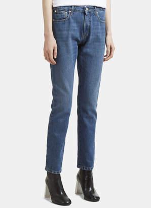 MSGM Logo Back Slim Fit Jeans in Blue