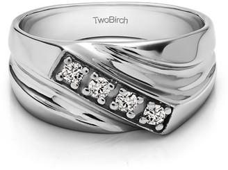 TwoBirch Brilliant Moissanite Mounted in Sterling Silver Brilliant Moissanite Men's Band with Open Ended channel(0.2crt)