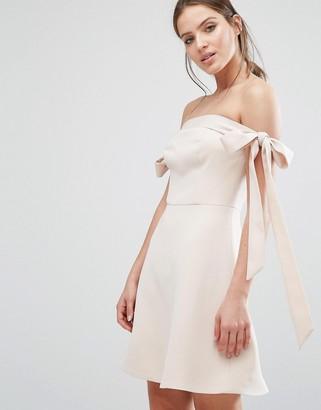 Keepsake Off Shoulder Bow Detail Dress $203 thestylecure.com