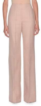 Agnona Prince of Wales Cotton High Waisted Flare Pant