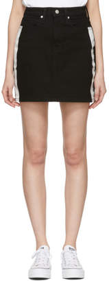 Calvin Klein Jeans Black Striped Denim High-Rise Miniskirt