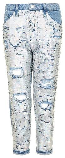TopshopPetite Women's Topshop Hayden Ariel Shimmer Boyfriend Jeans