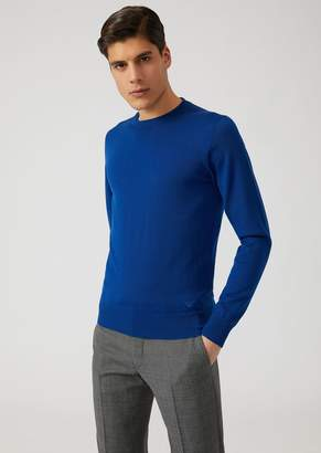 Emporio Armani Sweater In Pure Virgin Wool With Embroidered Logo