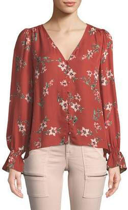 Joie Bolona Long-Sleeve Floral Silk Button-Front Top