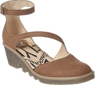 Fly London Plan Leather Wedge Sandal