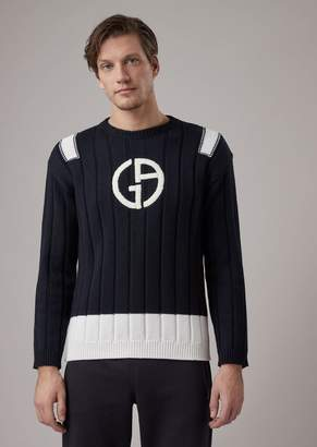 Giorgio Armani Sweater In Virgin Wool With Thick Ribbing And Contrasting Embroidered Logo