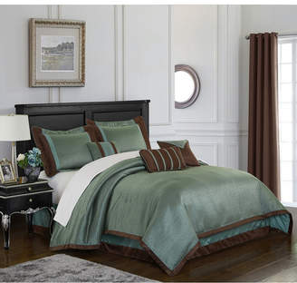 Tobey 7-Piece Comforter Set, Mineral Blue/Brown, California King Bedding