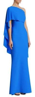 Chiara Boni One Shoulder Cape Gown