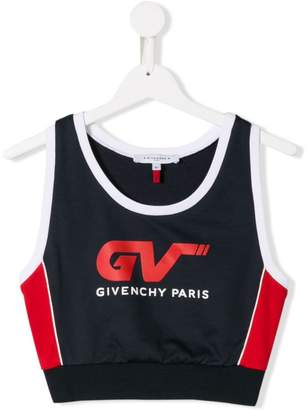 Givenchy Kids logo print cropped top