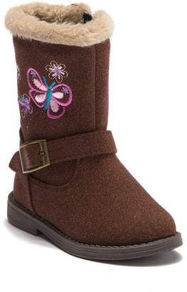 Laura Ashley Faux Fur Trimmed Mid Calf Boot (Toddler & Little Kid)